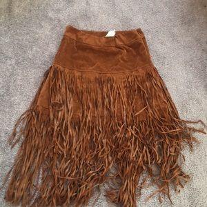 BRAND NEW LF tan fringe skirt